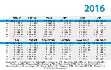 Kalender 2016 Visitenkartenformat mit Feiertagen