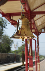 Brass bell highly polished on a Thai railroad station