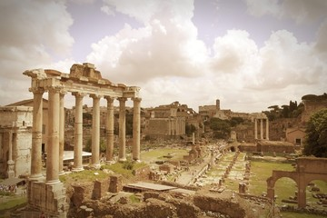 Retro Rome. Roman Forum - cross processed color tone