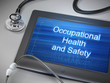 occupational health and safety words displayed on tablet - 75396638