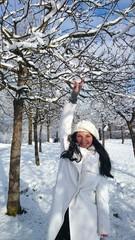 Woman enjoys the First snow