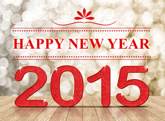 Happy New Year 2015 in room with sparkling and wooden floor