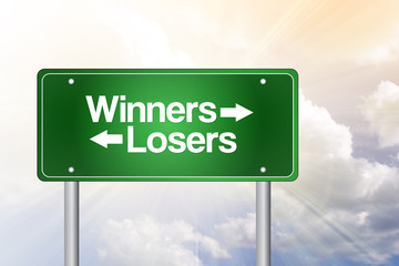 Winners, Losers Green Road Sign, business concept