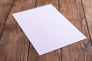 Paper sheet on table close-up
