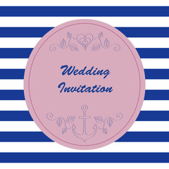 Nautical wedding invitation vector