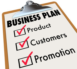 Business Plan Checklist Clipboard Product Customers Promotion Ch