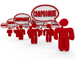 Compromise Settle Dispute Negotiate People Speech Bubbles