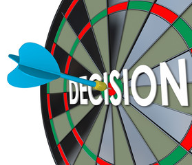 Decision Choice Final Judgment Determination Dart Board Bull's E