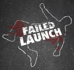 Failed Launch Unsuccessful New Business Startup Chalk Outline De