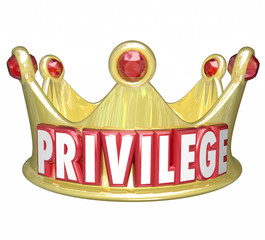 Privilege Word Gold Crown Upper Class Rich Wealthy Royalty