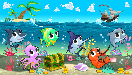 Funny marine animals in the sea with galleon
