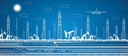 Petroleum panorama, industrial landscape, power plant, airplane
