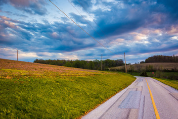 Sunset sky over a country road in rural York County, Pennsylvani
