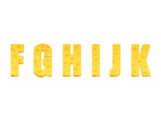 Cheese alphabet set. Letters F-K