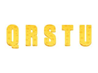 Cheese alphabet set. Letters Q-U