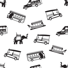 B&W Seamless Pattern: Thailand Transportation