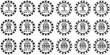 poker chips set black and white isolated on white background