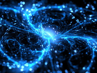 Blue glowing plasma curves in space