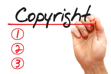 Hand writing Copyright List with red marker, business concept