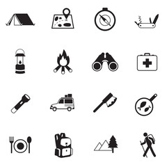 B&W icons set : Adventure & Camping, Trips & Travel