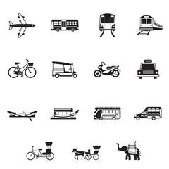 B&W icons set : Thailand Transportation, Trips & Travel