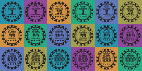 poker chips set black on color