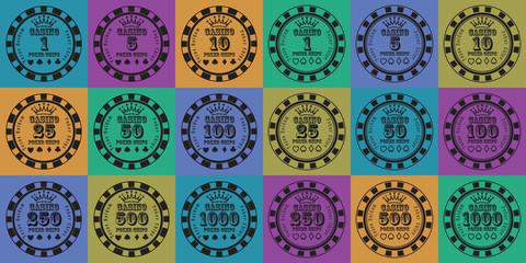 poker chips set black on color