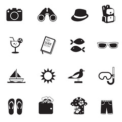 B&W icons set : Summer, Trips & Travel