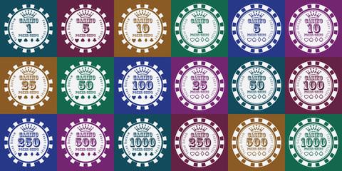 poker chips set white on color