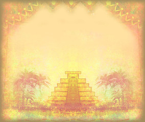 Mayan Pyramid, Chichen-Itza, Mexico - grunge abstract frame