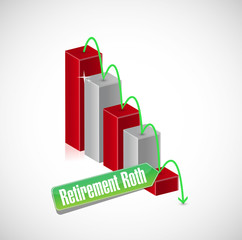 falling retirement roth graph illustration