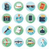 Fototapety Flat icons set : Backpacker, Trips & Travel