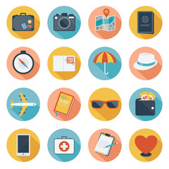 Flat icons set : Prepare, Trips & Travel