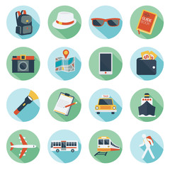 Flat icons set : Backpacker, Trips & Travel
