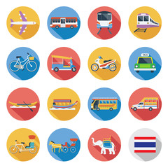Flat icons set : Thailand Transportation, Trips & Travel
