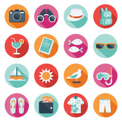 Flat icons set : Summer, Trips & Travel