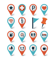 Map markers, GPS icons set : Destination, Trips & Travel