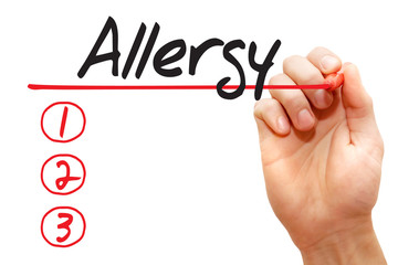 Hand writing Allergy List with red marker, business concept