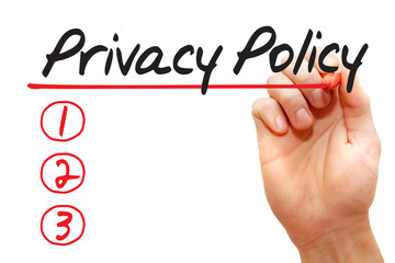 Hand writing Privacy Policy List with marker, business concept