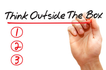 Hand writing Think Outside The Box List with red marker