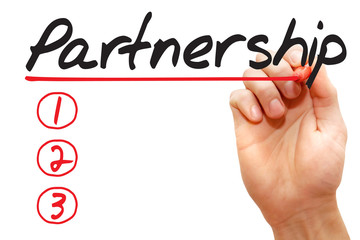 Hand writing Partnership List with red marker, business concept
