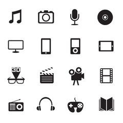 B&W icons set : Multimedia & Entertainment Objects