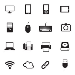 B&W icons set : Computer, Office Objects
