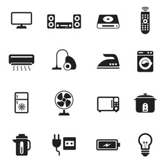 B&W icons set : Electronic Objects
