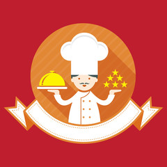Illustration : Male Chef with Ribbon, Show five stars and salver