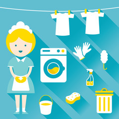 Illustration : Maid, Housekeeper, with Cleaning Icons