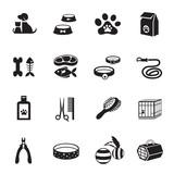 B&W icons set : Pet, Cat & Dog Object - 75405496