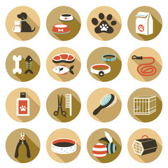 Flat icons set : Pet, Cat & Dog Object