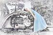 Leinwanddruck Bild - Sleeping beauty in long, blue dress - winter scenery