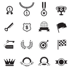 B&W icons set : Success, Award Object